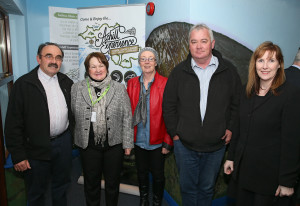 Joe Lavelle of Lavelles Caravan and Camping Park, Mary Angela McLoughlin of CFÁA, Ann & Martin Keane & Bernadette Connaughan of Mulranny Park Hotel enjoying the Business launch of the Achill Experience. Photo: © Michael Donnelly